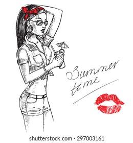 "The vector illustration ""hand draw illustration beautiful girl summer"" for design"