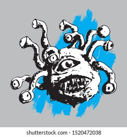 Vector illustration with Hand draw black and white dnd beholder