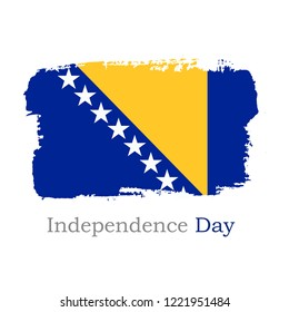 Vector Illustration. Hand draw Bosnia and Herzegovina flag. National Bosnia and Herzegovina banner for design on white background. Independence Day