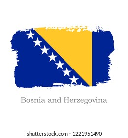 Vector Illustration. Hand draw Bosnia and Herzegovina flag. National Bosnia and Herzegovina banner for design on white background