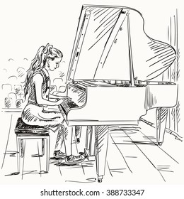 Vector illustration of hand draw girl playing the piano in sketch style like watercolor. Black and white.