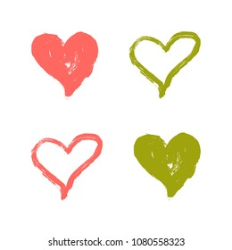 Vector Illustration. Hand draw heart using paint. Template set of hearts by acrylic paint in colorful colors for desing