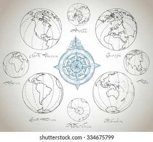 Vector illustration. Hand drawing continents: Australia, North America, South America, the Arctic, Antarctica, Africa, Europe, Asia.Blue on a light background.