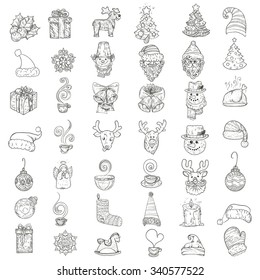 Vector illustration. Hand drawing icons for New Year and Christmas.