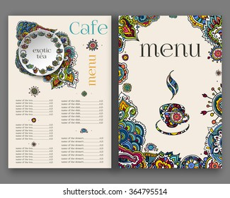 Vector illustration. Hand drawing on a graphic tablet.Tea menu, ethnic decorated ornament.