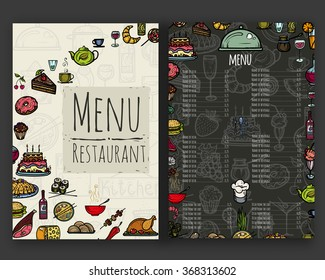 Vector illustration. Hand drawing on a graphic tablet.Restaurant menu.