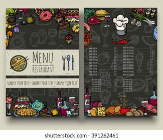 Vector illustration. Hand drawing on a graphic tablet.Restaurant menu.On a dark background.