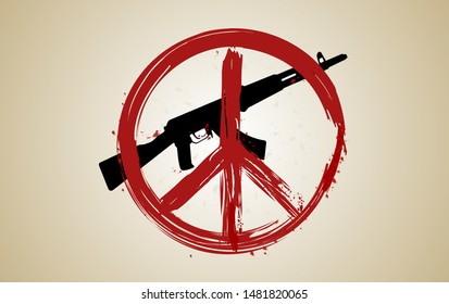 Vector illustration of hand drawing red peace symbol on top of black weapon. Peace day. No war.