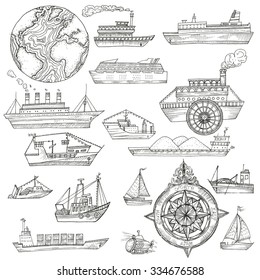 Vector illustration. Hand drawing ships: cruise ships, bathyscaph, boats, yachts. Compass.