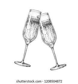 Vector illustration of hand drawing two clinking champagne glasses