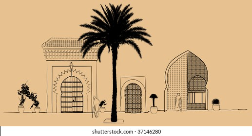 Vector illustration of a hand drawing typical street scenery in Morocco