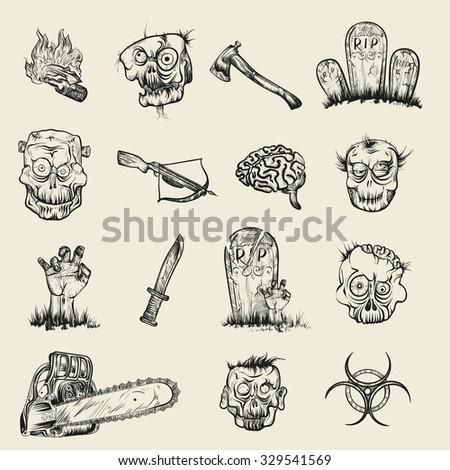 Vector Illustration Hand Drawing Zombie Apocalypse Stock