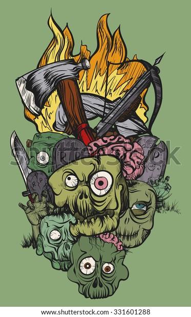 Vector Illustration Hand Drawing Zombie Apocalypse Stock Vector