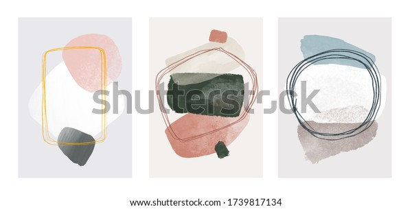 vector illustration hand drawn. Abstract design with doodles and various shapes. modern art isolated vector graphic. minimalistic geometric frames hand painted