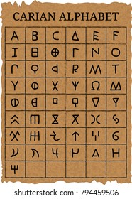 Vector illustration of a hand drawn ancient carian alphabet on an old parchment with the names of letters in English. Separate layers.