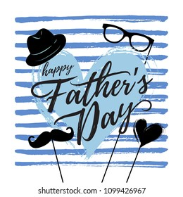 Vector illustration, hand drawn background and Happy Fathers day text. Fathers day card design.