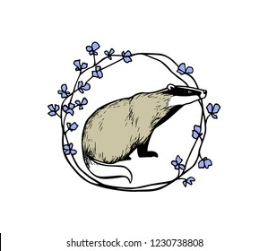 Vector illustration of hand drawn badger in floral wreath. Beautiful ink drawing, vector emblem