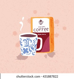 Vector illustration of hand drawn big cofee mug and coffee beans pack on the background. Swedish style.
