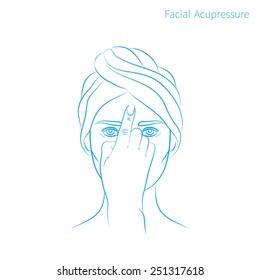 Vector illustration: hand drawn blue scheme facial acupressure third-eye chakra Ajna
