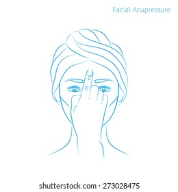 Vector illustration: hand drawn blue scheme facial acupressure third-eye chakra Ajna demonstrated on asian woman