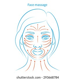 Vector illustration: hand drawn blue scheme face massage demonstrated on beautiful afro american woman