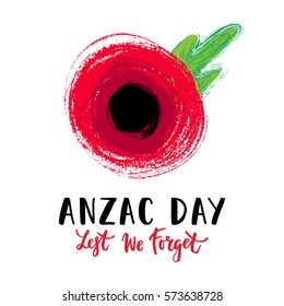 Vector illustration of a hand drawn bright poppy flower. Remembrance day symbol. Lest we forget lettering. Anzac day lettering.