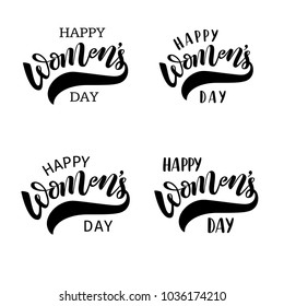 Vector illustration of hand drawn brush lettering quotes Happy Women's Day set for congratulation, greeting card, poster, banner on 8 March, International Women's Day