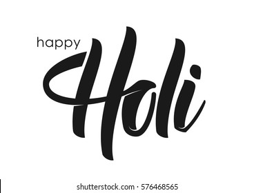 Vector illustration: Hand drawn brush lettering of Happy Holi on white background