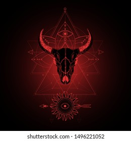Vector illustration with hand drawn bull skull and Sacred geometric symbol on black background. Abstract mystic sign. Red linear shape. For you design, tattoo or magic craft.