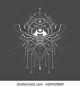 Vector illustration with hand drawn butterfly Dead head and Sacred geometric symbol on black background. Abstract mystic sign. White linear shape. For you design, tattoo or magic craft.