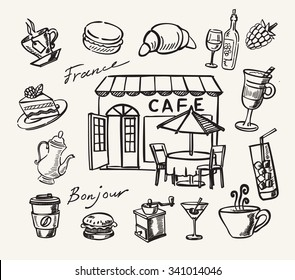 Vector illustration with hand drawn of cafe