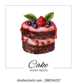 Vector illustration. Hand drawn cake with watercolor texture. Cake with cream, berries. Hand painted sweet cake on a white background. Poster or card for cafe, bakery, restaurant, coffee house
