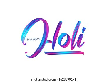 Vector illustration: Hand drawn calligraphic brush stroke colorful paint lettering of Happy Holi
