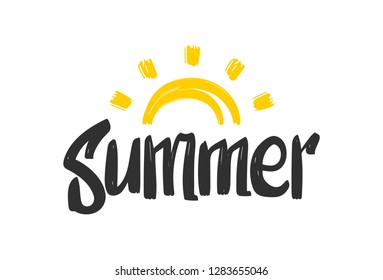 Vector illustration: Hand drawn cartoon doodle lettring of Summer with Sun on white background