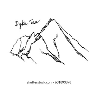 Vector illustration of hand drawn Caucasus peak Dykh-Tau. Ink drawing, graphic style. Perfect for travel, sport or spiritual designs.