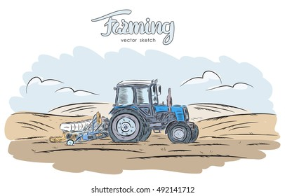 Vector illustration: Hand drawn color sketch with tractor on field.