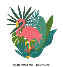 Vector illustration of hand drawn composition with tropical leaves, flowers and flamingo bird elements for cards, greeting cards, prints, posters, t-shirts design