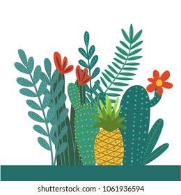 Vector illustration of hand drawn composition with tropical leaves, flowers and cacti elements for cards, greeting cards, prints, posters, t-shirts design