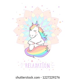 Vector illustration of hand drawn cute unicorn with stars and text - RELAXATION on withe background. For print, t-shits, greeting cards, poster, children room decoration. Cartoon style. Colored.