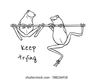 Vector illustration of hand drawn cute frogs, one of them trying to climb the branch, the other has already succeeded. Beautiful design elements, ink drawing, funny motivation illustration.