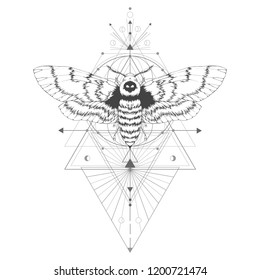 Vector illustration with hand drawn dead head moth and Sacred geometric symbol on white background. Abstract mystic sign. Black linear shape. For you design: tattoo, print, posters, t-shirts, textiles