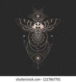 Vector illustration with hand drawn dead head moth and Sacred geometric symbol on black vintage background. Abstract mystic sign. Gold linear shape. For you design: tattoo, print, posters, t-shirts.