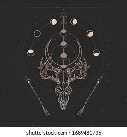 Vector illustration with hand drawn Deer skull and Sacred geometric symbol on black vintage background. Gold linear shape.