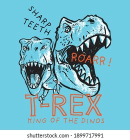 Vector illustration of hand drawn dinosaurs and typography. Graphic design for kids t-shirt
