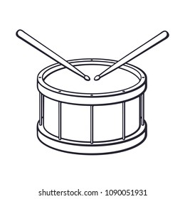 Vector illustration. Hand drawn doodle of classic drum with crossed drumsticks. Percussion musical instrument. Rock or jazz equipment. Cartoon sketch. Isolated on white background