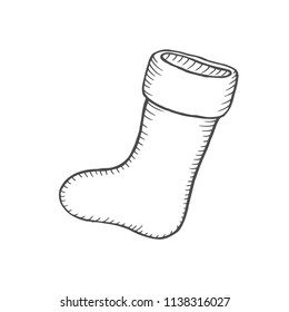 Vector illustration. Hand drawn doodle of Christmas sock for gifts. Cartoon sketch. Isolated on white background