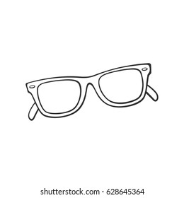 Vector illustration. Hand drawn doodle of retro sunglasses horn-rimmed glasses. Cartoon sketch. Decoration for greeting cards, posters, emblems, wallpapers