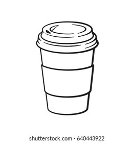 Vector illustration. Hand drawn doodle of disposable paper cup with coffee or tea. Cartoon sketch. Decoration for menus, signboards, showcases, greeting cards, posters, wallpapers