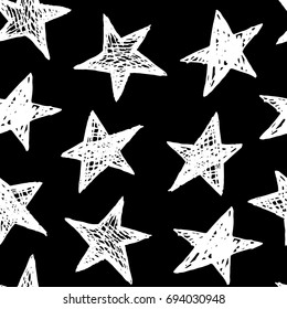 Vector illustration of hand drawn doodle seamless pattern with stars.