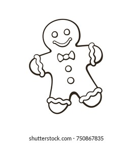 Vector illustration. Hand drawn doodle of Christmas cookies Gingerbread man. New year biscuit ginger man. Cartoon sketch. Isolated on white background